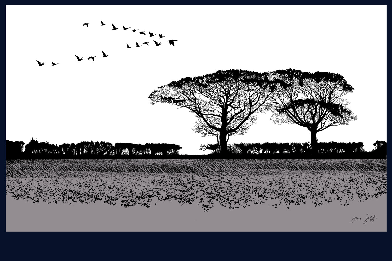 Geese, Burnham Thorpe, Norfolk. Land Song Fine Art Print - available in 9 colours