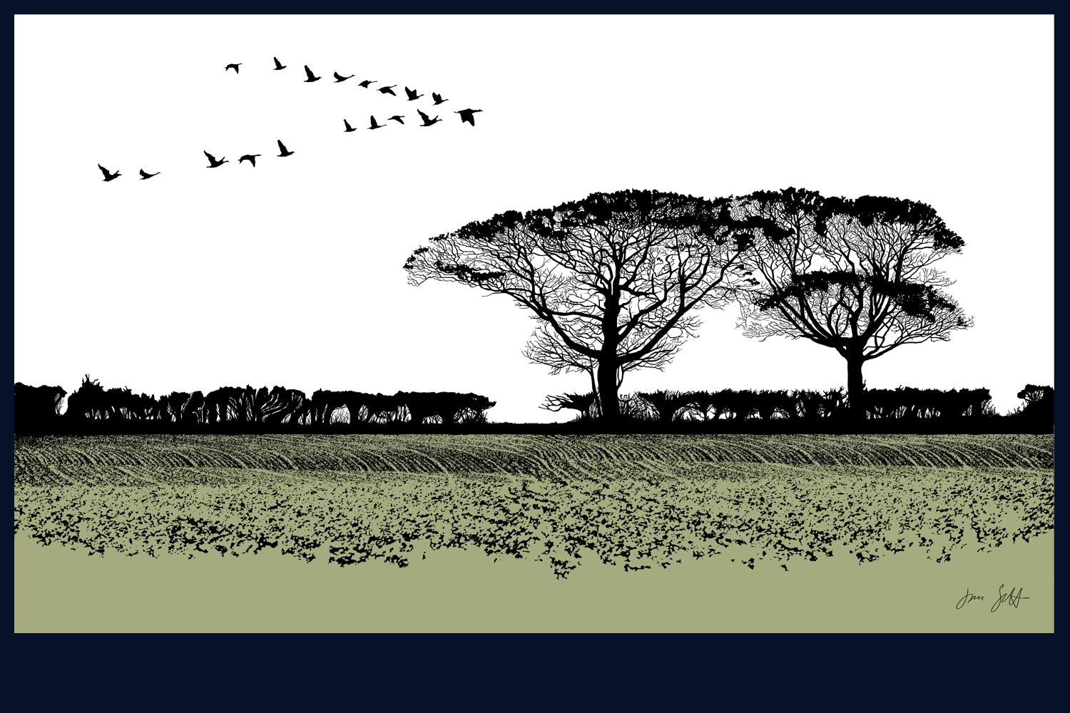 Geese, Burnham Thorpe, Norfolk. Land Song Fine Art Print - available in 12 colours