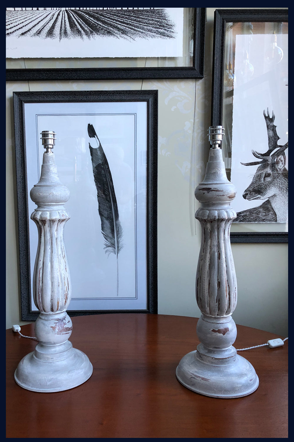 U Collection: Pair of Large Antique Turned Mahogany Table Legs Lamps