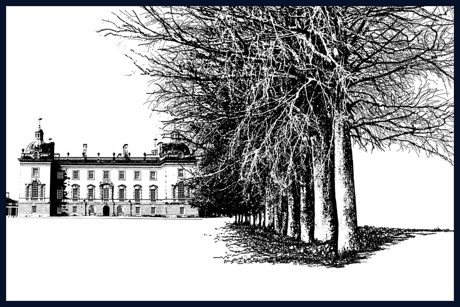 Floated & Framed Houghton Hall: West Perspective, Norfolk no.10 of 50 Limited Edition Fine Art Print