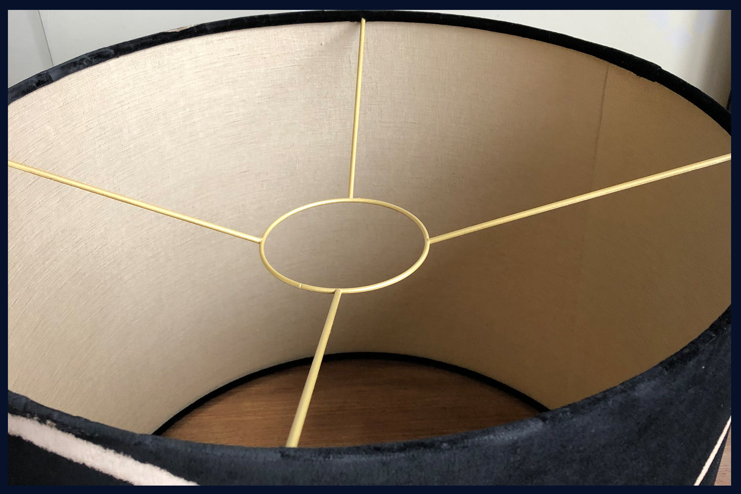Raw Luxe Collection: Luxury Vintage Black Velvet 50cm x 40cm Handmade Drum Shade with Gold Lining(2)