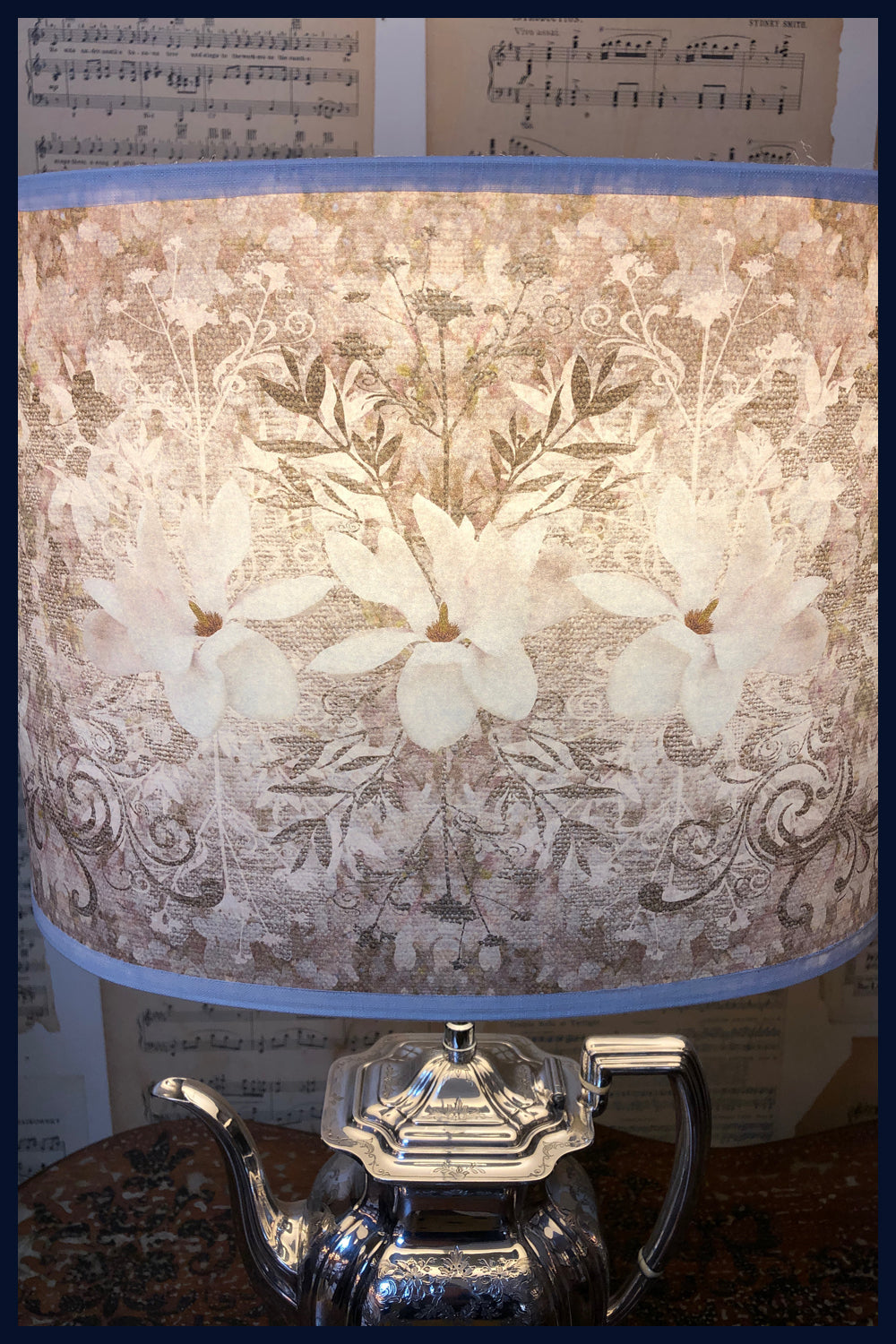 Magnolia Damask - Limited Edition Lampshades Featuring White Magnolias