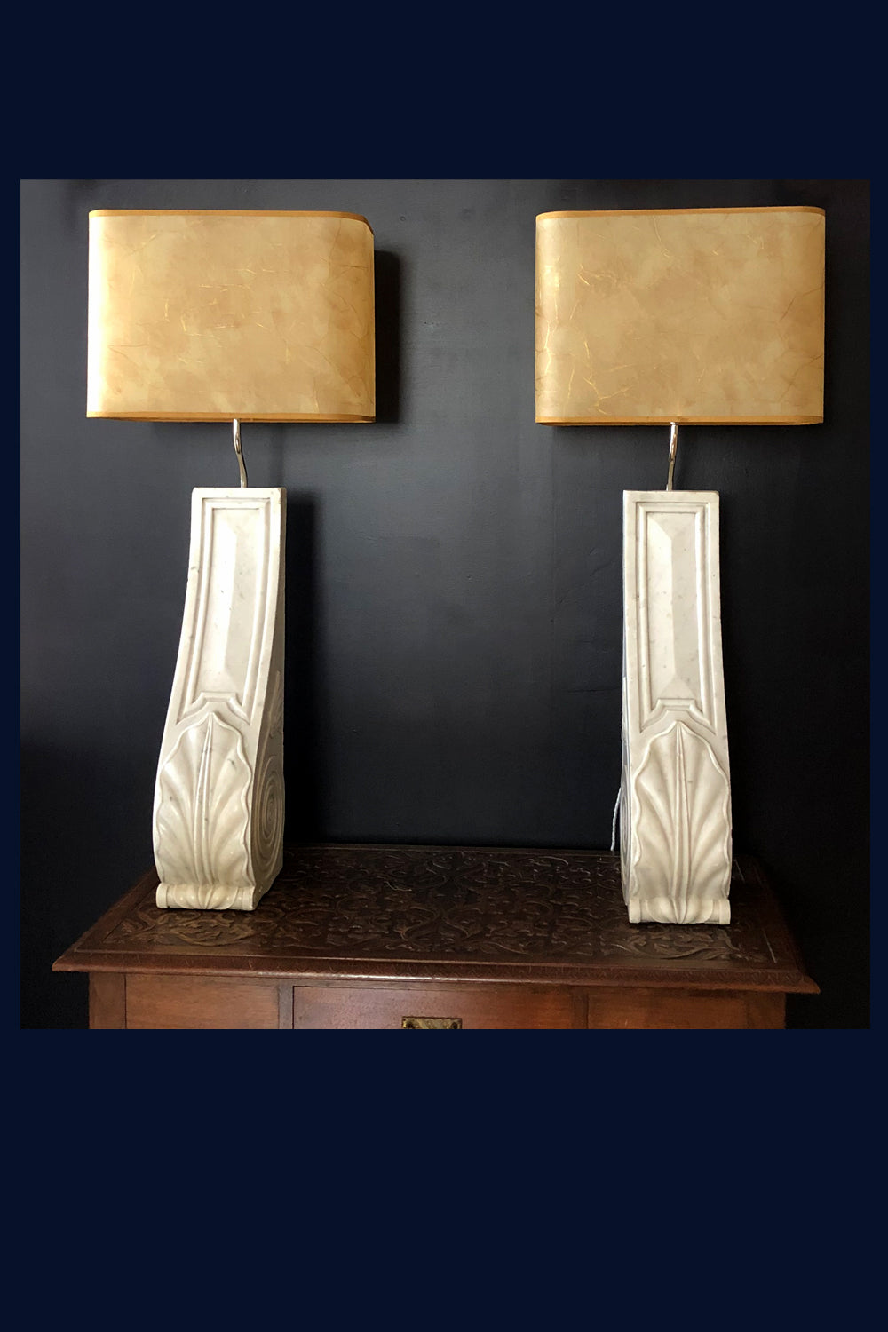 U Collection: Pair of Antique Carved Marble Corbel Table Lamps