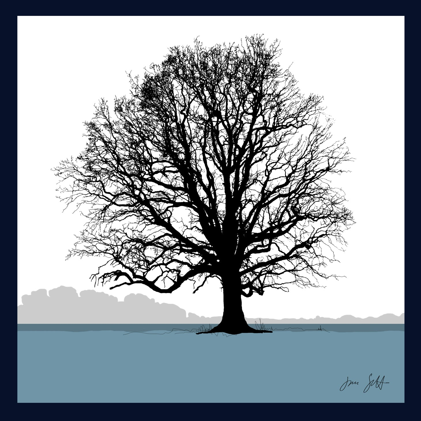 Oak, Blickling, Norfolk. Arboretum Colour Block Fine Art Print - 9 colours available