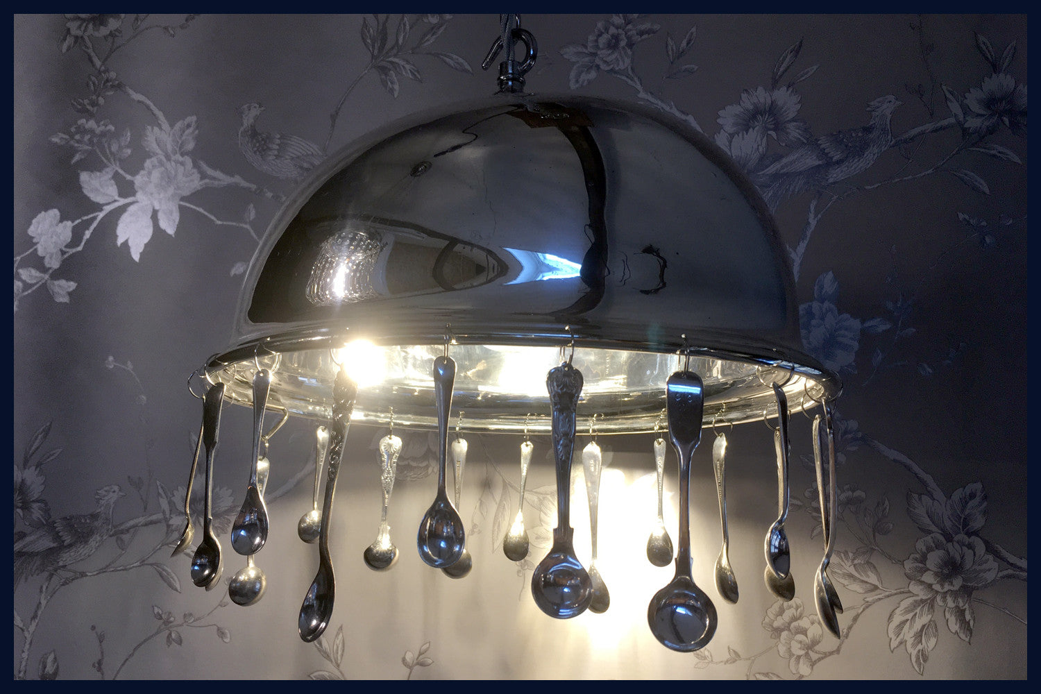Silver Service Collection:  Antique Silver-Plated Food Dome/Cloche Chandelier with Antique Salt & Mustard Spoons - Grace (92)