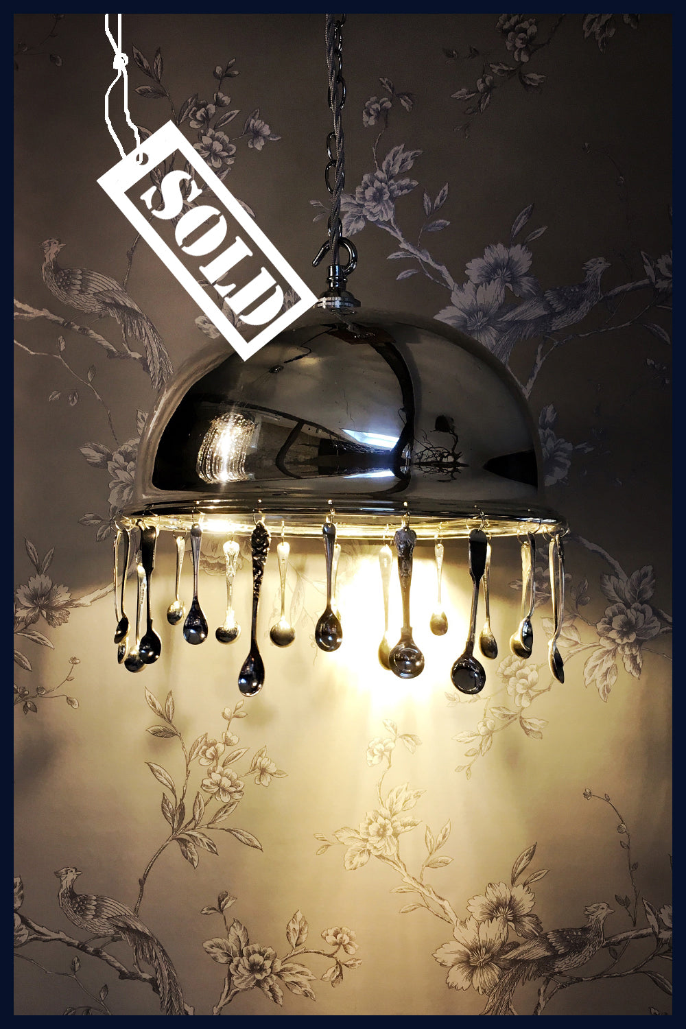 Antique Silver-Plated Food Dome/Cloche Chandelier with Antique Salt & Mustard Spoons - Grace (92)