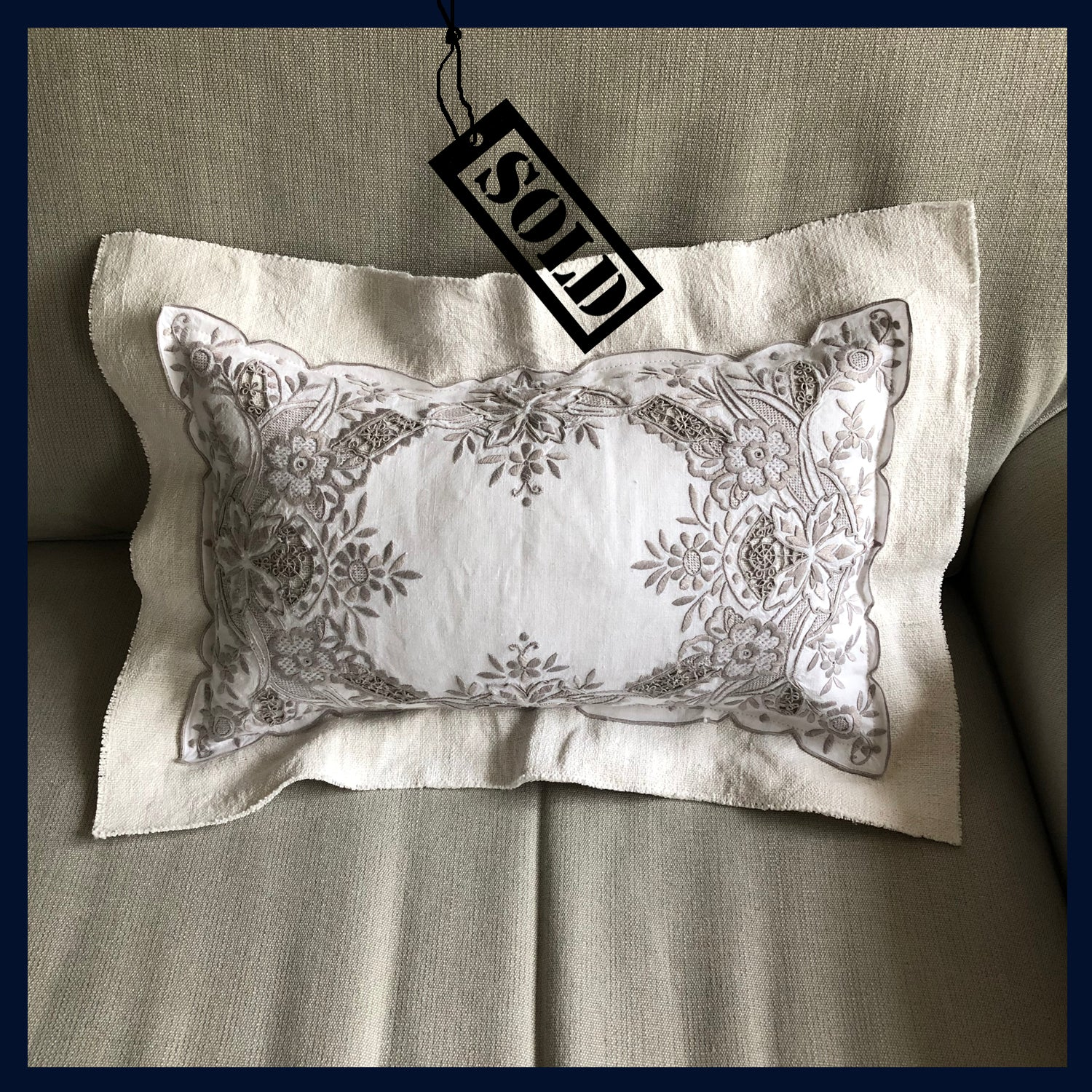 Raw Luxe Collection: Luxury Vintage Embroidered Rectangular Cushion