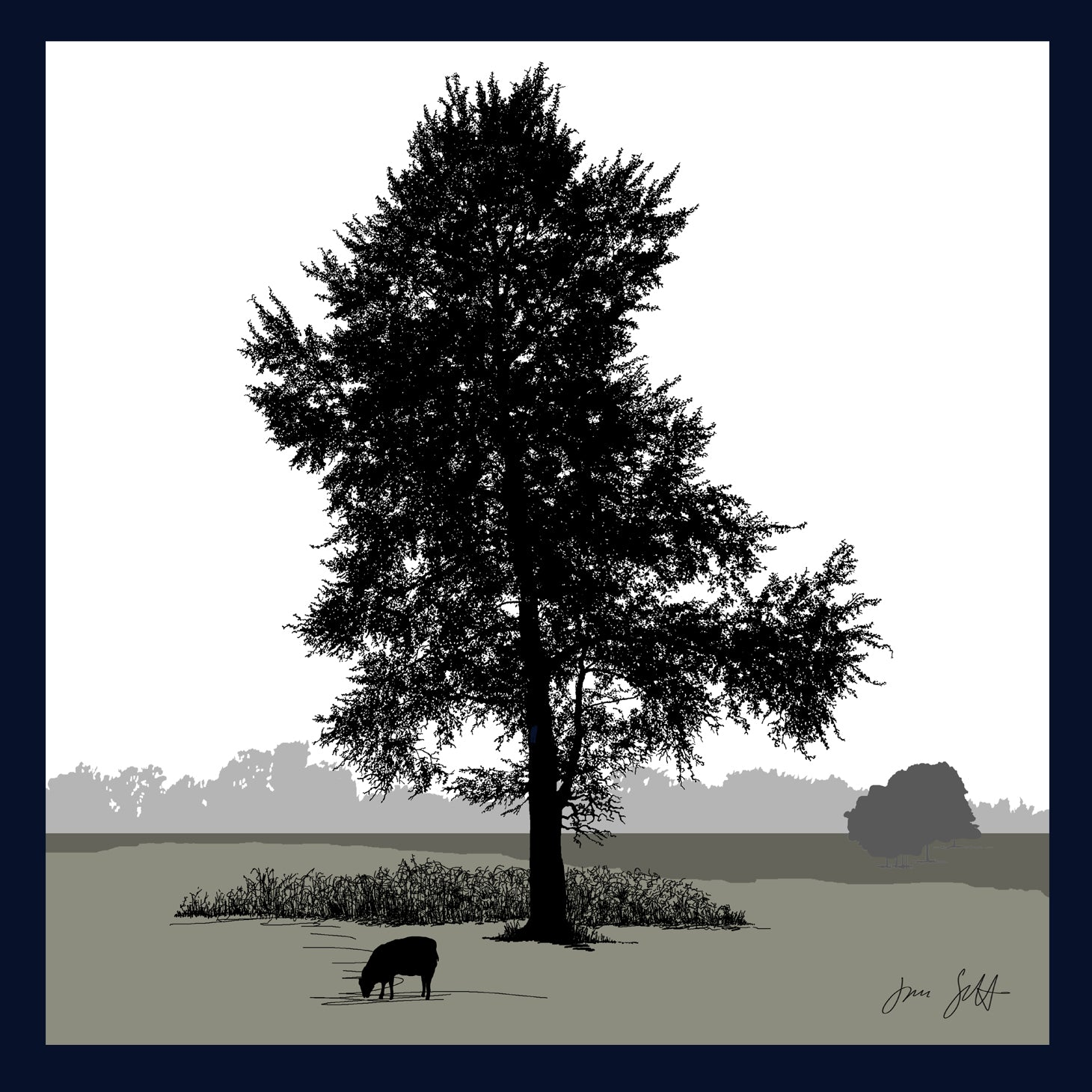White Poplar, Glandford, Norfolk. Arboretum Colour Block Fine Art Print - 9 colours available