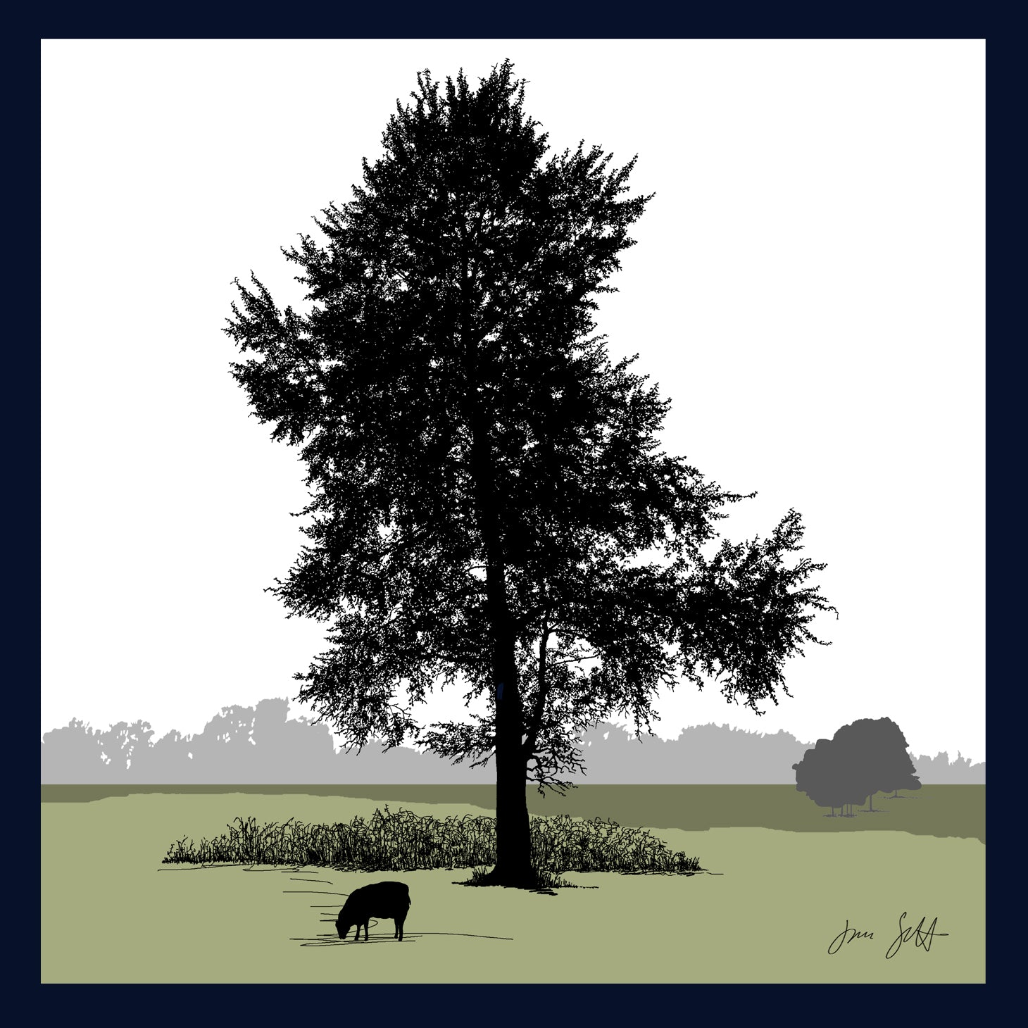 FRAMED White Poplar, Glandford, Norfolk. Arboretum Colour Block Fine Art Print - 9 colours available
