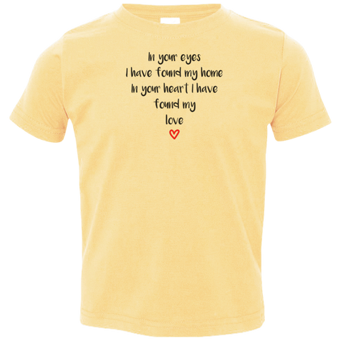 "In Your Eyes... A cute ""gift for a toddler"" printed on Rabbit Skins 3321 T-Shirt with tear away label (Colors Pastel)"