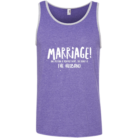 "Marriage One is Right... A cheeky ""gift for my partner"" printed on AnviL 986 Tank Top with tear away label (Colors Dark)"