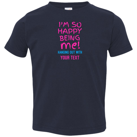 "Being Me... A connecting personalized ""gift for a toddler"" printed on Rabbit Skins 3321 T-Shirt with tear away label (Colors Dark)"