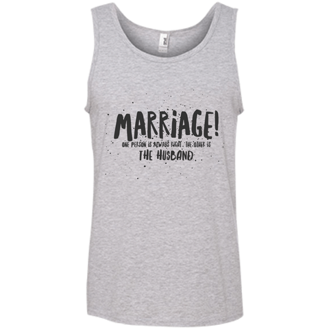 "Marriage One is Right... A cheeky ""gift for my partner"" printed on AnviL 986 Tank Top with tear away label (Colors Pastel)"