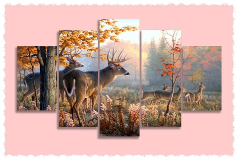 Autumn Deer Prints on Canvas