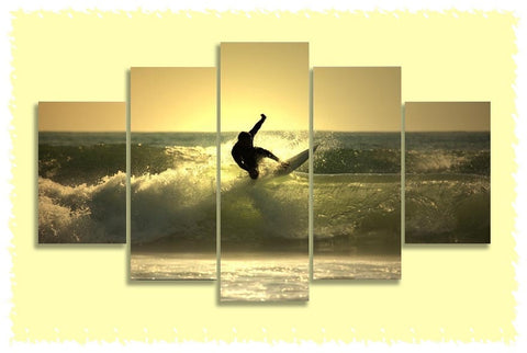 Sunset Surf Gold Prints on Canvas