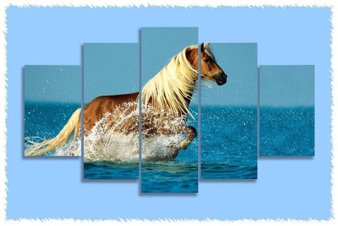 Mountain Pleasure Horse Splash Prints on Canvas