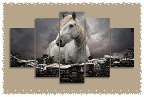 Majestic White Horse Prints on Canvas