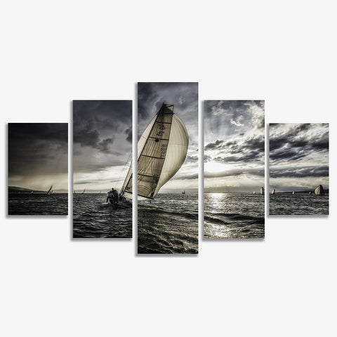Sailing Grey Prints on Canvas