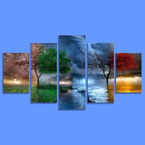 Four Seasons Blue Prints on Canvas