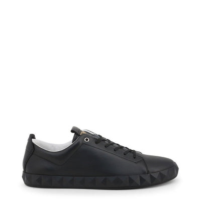 EMPORIO ARMANI BLACK LEATHER SNEAKERS - Trendy Labels