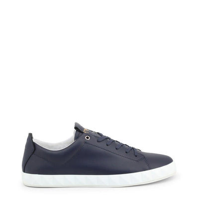 Emporio Armani - BLUE LEATHER SNEAKERS - Trendy Labels