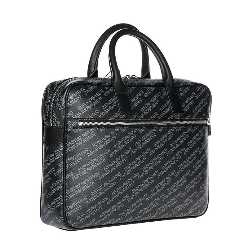 Emporio Armani - Logo Printed Briefcase - Black - Trendy Labels