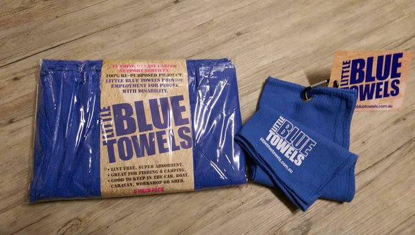 Little Blue Towels Happy Pack - 2 Golf Towels & 2 x 5 Packs - WITH POST