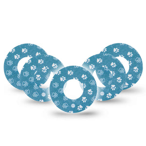 Blue and White Pawprints Libre Tape 5-Pack
