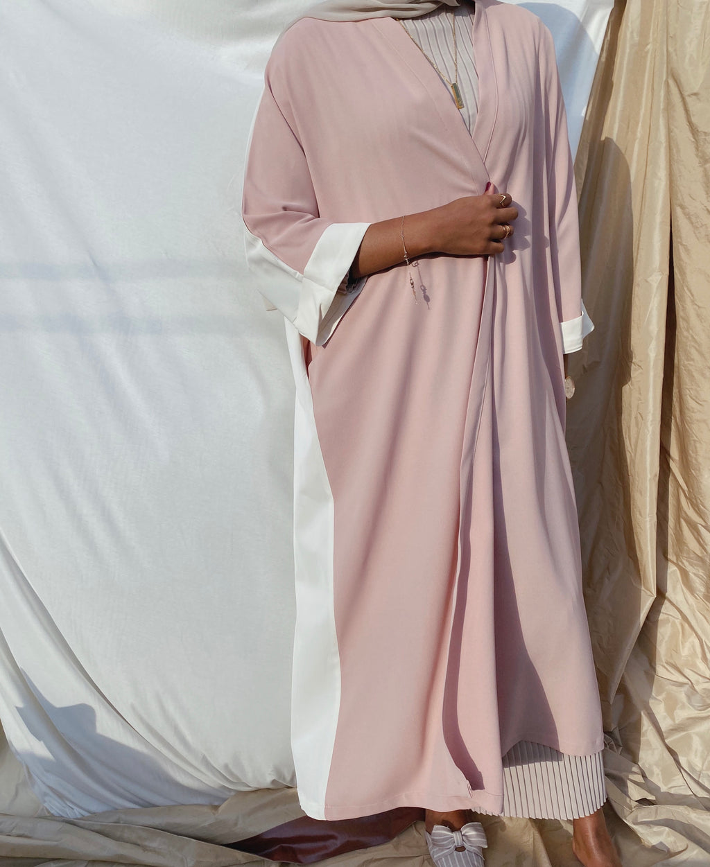Two toned (Dusty pink)  abaya