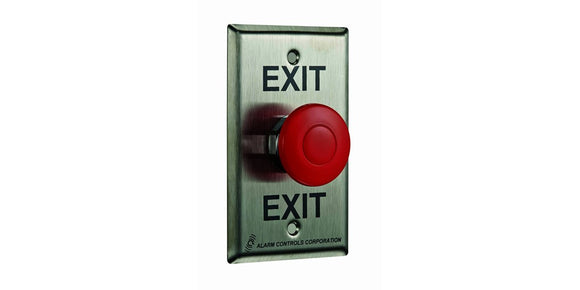 Alarm Controls Single Gang Mushroom Button EB1 Request to Exit