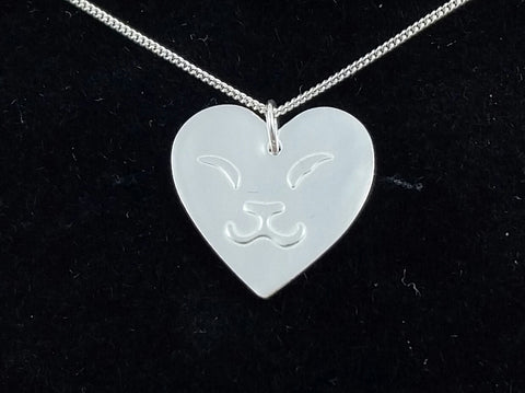 Cat Face Heart Pendant