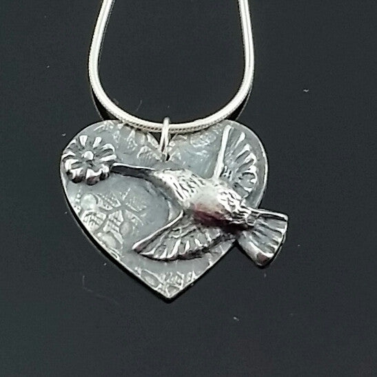 Hummingbird Heart Pendant