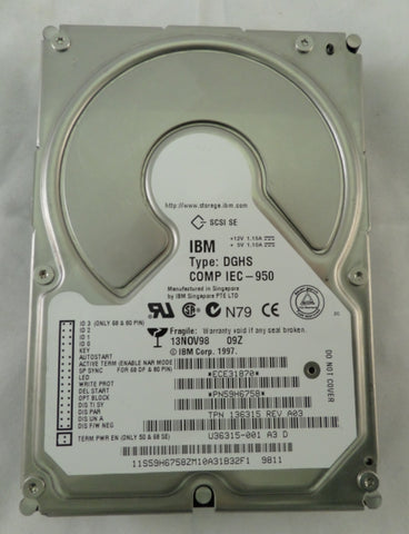 "IBM 9.1GB SCSI 68 PIN 7200rpm 3.5"" HDD"