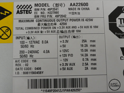 Astec IBM 425W 24 Pin ATX Power Supply
