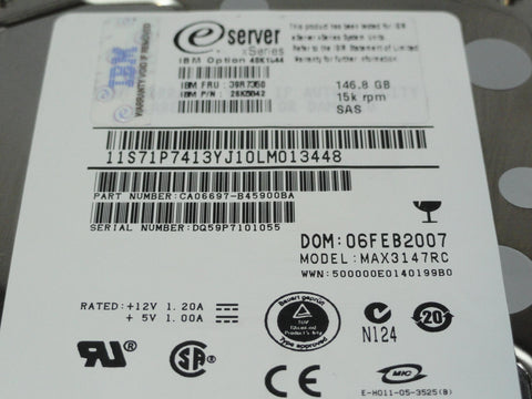 Fujitsu IBM 146.8GB SAS 80 Pin 15Krpm 3.5in HDD
