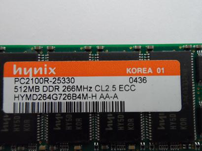 Hynix 512MB PC2100 DDR-266MHz 184-Pin DIMM