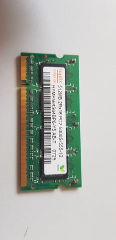 Hynix 512MB 2Rx16 PC2 53000S Unbuffered DDR2 SODIMM Memory Module (HYMP564S64BP6-Y5 AB-T)