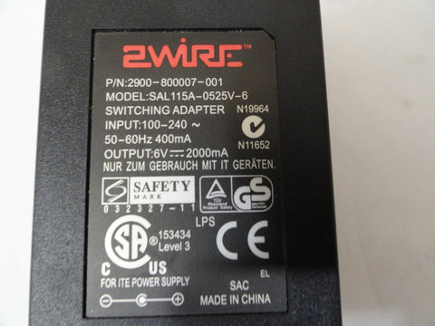 2Wire AC 6V Adaptor