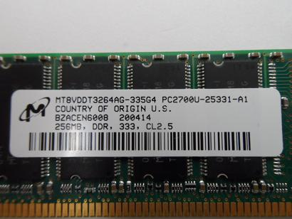 HP/Micron 256MB PC2700 DDR-333MHz 184-Pin DIMM