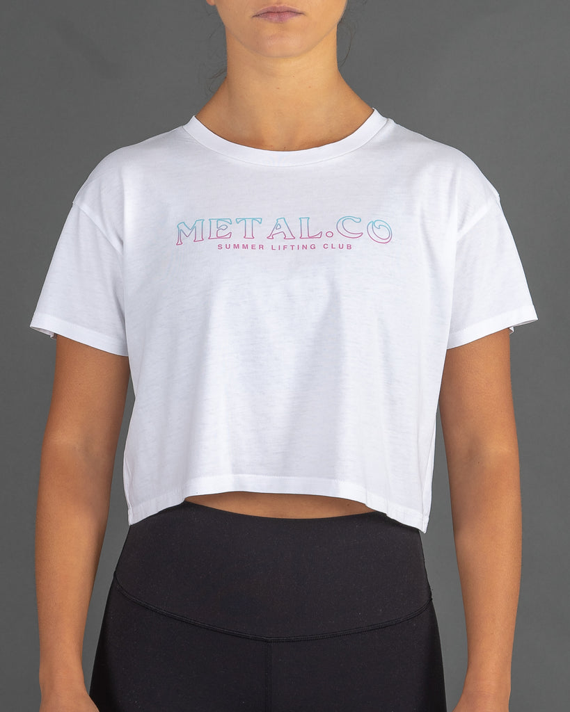Summer Lifting Club - Cropped Tee [White]