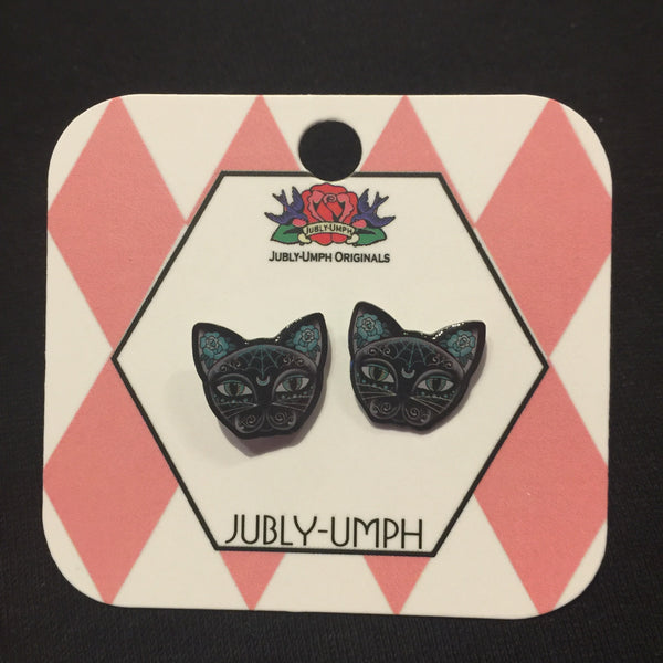 Jubly-Umph Luna Black Kitty Stud Earrings