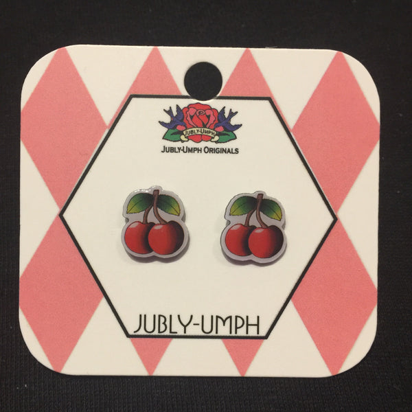 Jubly-Umph Rockabilly Cherry Stud Earrings