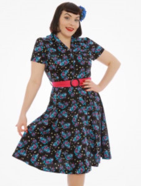 Lindy Bop 'Lilith' Cheshire Cat Print Tea Dress