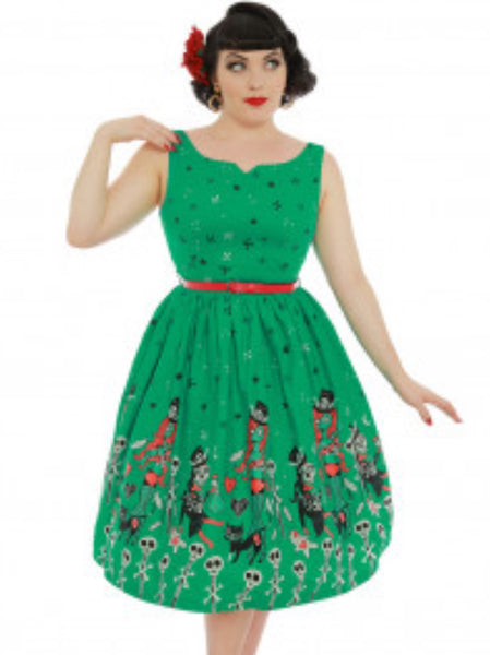 Lindy Bop 'Delta' Green Witch Doctor Print Swing Dress