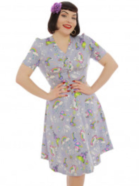 Lindy Bop 'Ionia' Grey Magic Unicorn Print Tea Dress