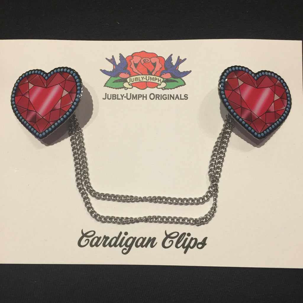 Jubly-Umph Crystal Heart Cardigan Clips