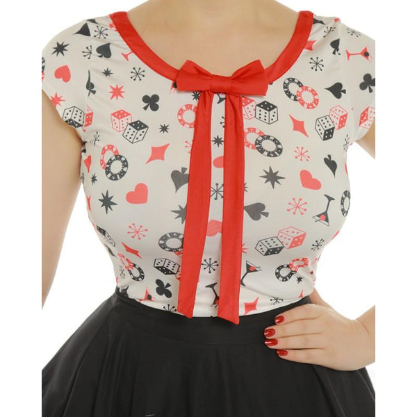 Lindy Bop Delia Red and White Dice Print Top