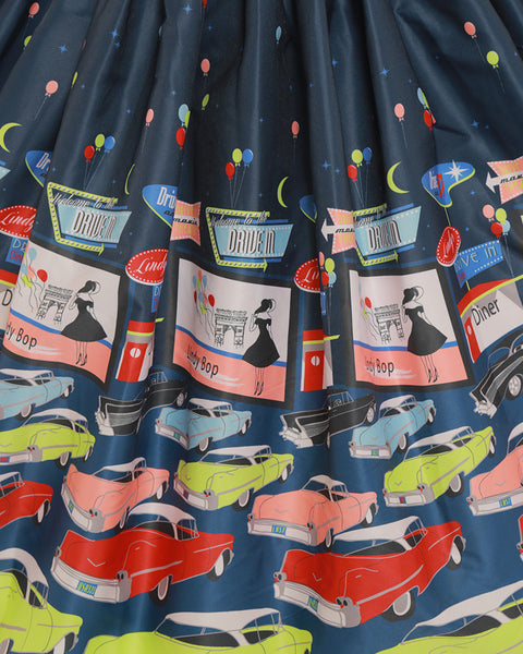 Lindy Bop Courtney Drive In Navy Print Dress