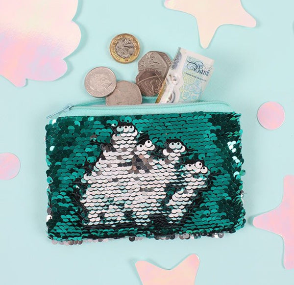 Mermaid reversible sequin purse
