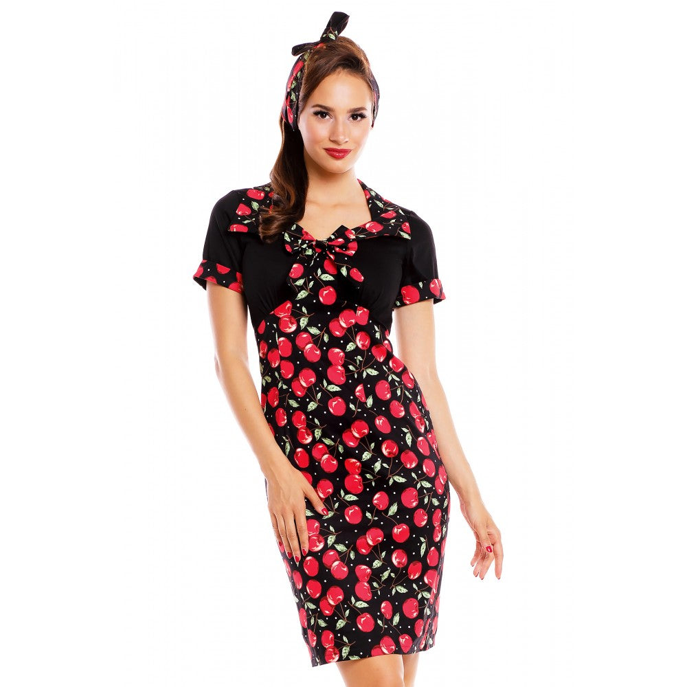 Dolly and Dotty Cherry Print Wiggle Dress